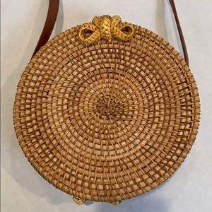 Rattan Round Circle Crossbody Bag
